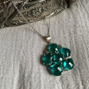 Jewelry - Sterling Silver Teal Statement Pendant Necklace